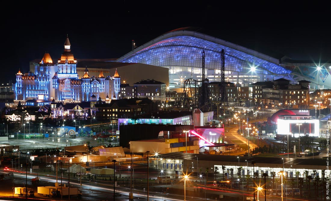 The Fisht Olympic Stadium is pictured on the Olympic Park as preparations continue for the Sochi 2014 Winter Olympics