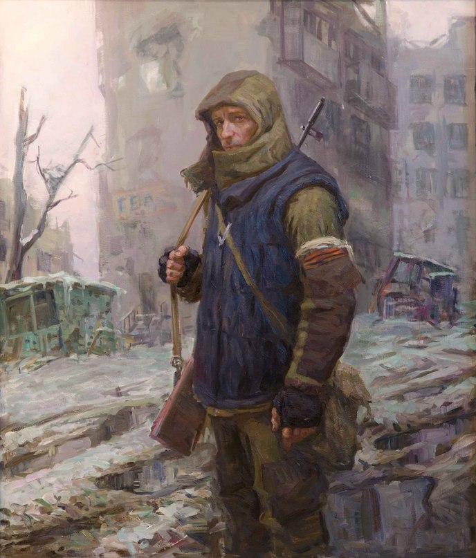 «Портрет снайпера Андрея» г. Дебальцево, 2016г., холст, масло